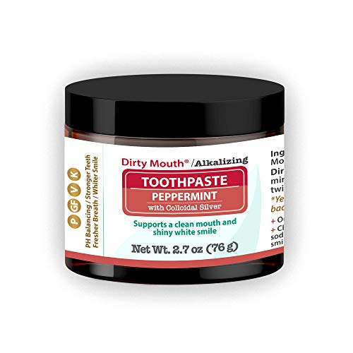 Dirty Mouth Natural Alkalizing Toothpaste For Sensitive Teeth and Gums   Remineralize, Strengthen, and Restore Enamel   2.7 ounces (Peppermint)