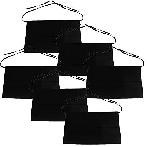 MGE - Set van 6 taille schort keuken - Half schorten 3 zakken voor mannen, vrouwen, serveerster, serveerster - korte taille schort met zakken - 54 x 34 cm - zwart