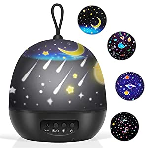 Baby Night Lights, Kids Projector 360 Degree Rotation – 3 LED Bulbs 8 Color Changing Light, Romantic Night Lighting Lamp, Unique Gifts for Birthday Nursery Women Children Kids Baby (4 Sets of Film)