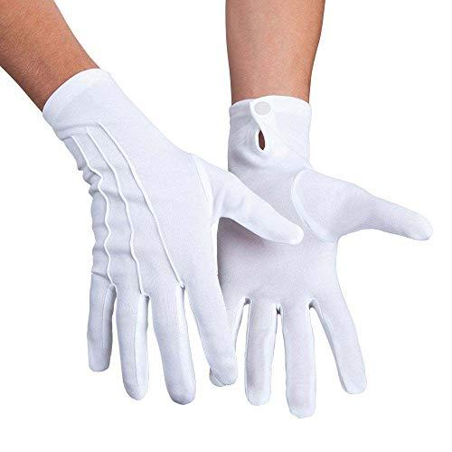 Boland 03080 - Handschuhe Basic weiß, mit Druckknopf, one size, Erwachsene, Sticknaht auf dem Handrücken, Weihnachten, Nikolaus, Karneval, Halloween, Fasching, Mottoparty, Verkleidung, Theater