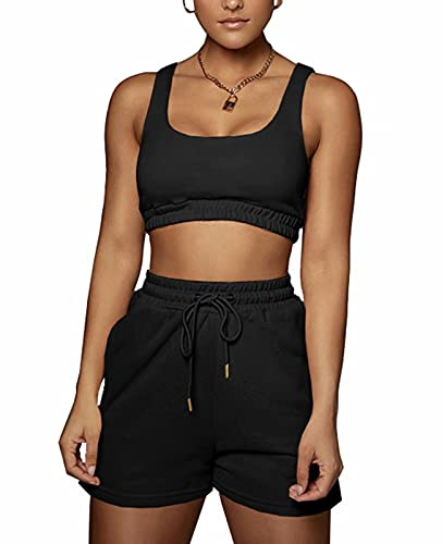 Sexy Sweatsuit Outfits for Women - Vest Top Crop Elastic Waist Shorts with Pockets Bodycon Tracksuit Sports Sets Black L