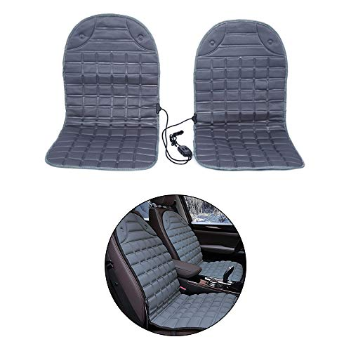 Maite Car Universal Seat Cover Pair Heated Seats Covers Winter Automobiles Seat Cushion Heating Keep Warm 12V(black)