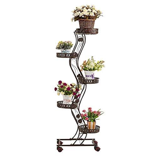 YXB Flower Stand Plant Pot Houder IJzer Vloerstaande Bloem Ladder Display Rack Met Wielen Indoor Decor Shelf,3 Kleuren (Kleur : Wit)