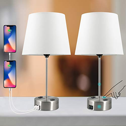 USB Table Lamps Set of 2 Touch Control Table Lamp 3 Way Dimmable Bedroom Nightstand Lamp with Dual USB Charging Port and Dual AC Outlet E26 Bulb Include