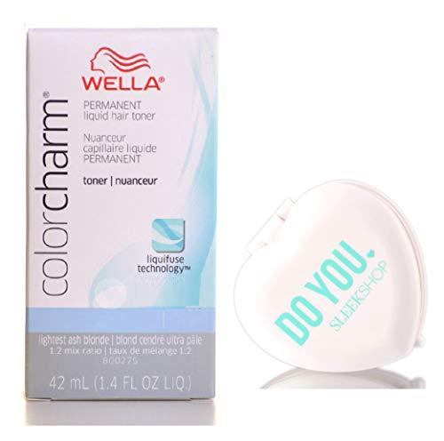 Wella COLOR CHARM Permanent LIQUID HAIR TONER (w/Sleek Heart Shaped Mirror) Haircolor Liquifuse, 1:2 Mix Ratio Hair Color DYE (T-15 PaIe Beige BIonde T15 T 15)