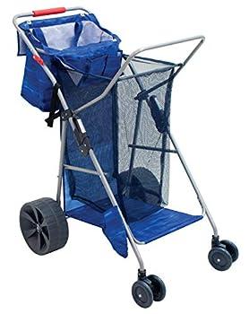 Rio Brands Beach Wonder Wheeler Deluxe Beach Utility Foldable Cart Blue