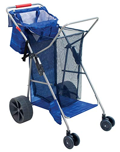 Rio Brands Beach Wonder Wheeler Deluxe Beach Utility Foldable Cart, Blue