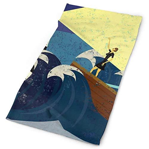 GUUi Headwear Headband Head Scarf Wrap Sweatband,Grunge Abstract Artwork of A Mysterious Woman in A Boat Sea Storm,Sport Headscarves for Men Women