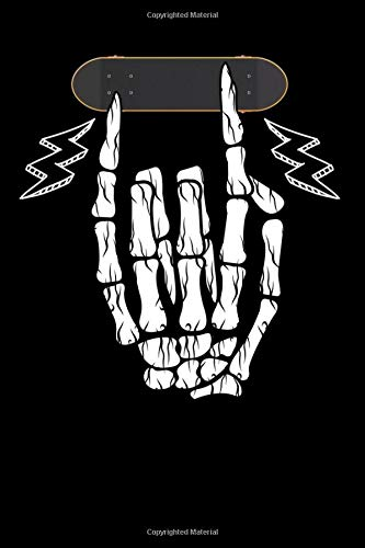 Notebook: Fingerskateboard Skater Finger Bones Skeleton Notebook 6x9 Inches 120 dotted pages for notes, drawings, formulas | Organizer writing book planner diary