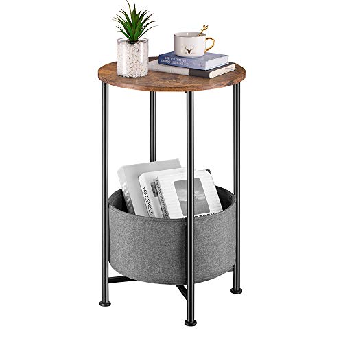Small Round Side Table Sofa End table With Removable Fabric Storage Basket/Industrial Round Bedside Table/Coffee Table/Bedroom Nightstand Bedroom Nightstand-66cm Height (Dark Grey, 66 * 40cm)