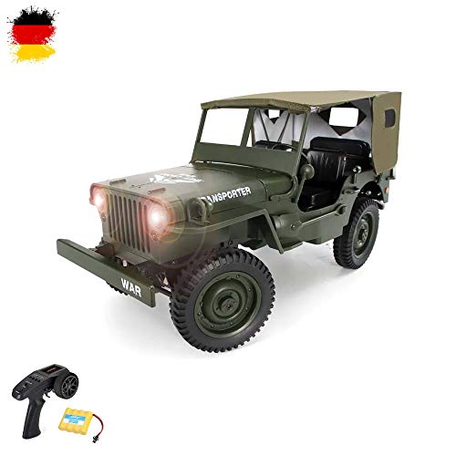 Himoto HSP Willy's MB Jeep 1/10 RC 2.4GHz Ferngesteuerter 4WD Off-Road Militär Army Truck Crawler Fahrzeug Transporter, Komplett-Set RTF