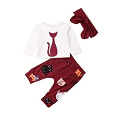Soft warm organic cotton material,breathable and comfortable,friendly to newborn baby girl's skin Cute baby girl 3pcs clothes set,long sleeve cat pattern printed t-shirt tops + plaid cartoon pants with elastic waistband + matching bowknot headband,in...