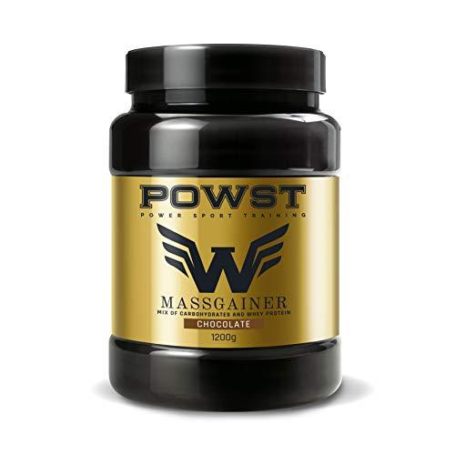 Estimulador Muscular, Suplemento Deportivo para Aumento de Masa Muscular con BCAA aminoacidos, Vitaminas y Minerales, 1,2Kg (Sabor Chocolate) Ganador de Peso, Mass Gainer POWST