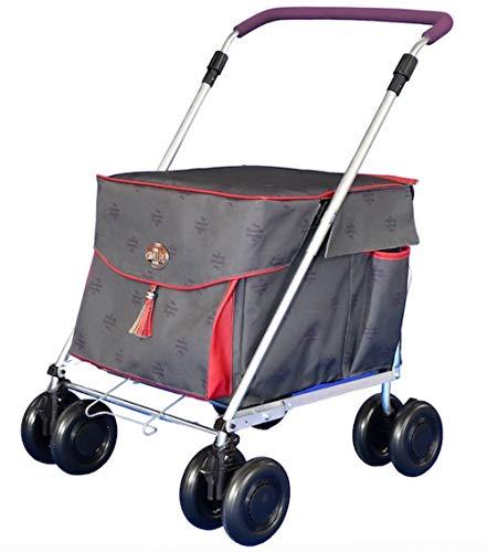 Sholley Nieuwe 'Ruby Royale' Winkelwagen met zitplaats, Stabiel hulpmiddel om te wandelen, 8 wielen, Sterk & Stevig om op te zitten, hoogte & hoek verstelbare handvat, 8 wielen, licht, gemakkelijk te duwen, vouwt plat