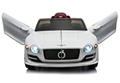 【OFFICIALLY LICENSED BENTLEY EXP12 RIDE ON CAR】: The Luxury Bentley is the ultimate kids' toy with Realistic Engine Noises, 2 Opening Scissor Doors, Light Up Dashboard, amazing LED Front and Rear Lights. Start it up and hear it roar like the real thi...