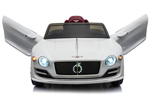 Rock Wheels Licensed Bentley EXP12 Kids Ride on Toy Car, 12V Battery Powered Children Electric 4 Wheels w/ Parent Remote Control, Foot Pedal, 2 Speeds, Music, Aux, LED Headlights (White)