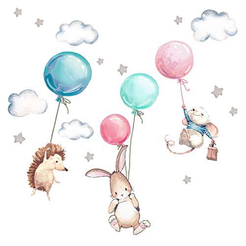Little Deco Wandtattoo Babyzimmer Tiere & Luftballons I Wandbild 107 x 67 cm (BxH) I Hase Igel Sterne Kinderzimmer Mädchen Aufkleber Baby Mädchenzimmer DL539-17
