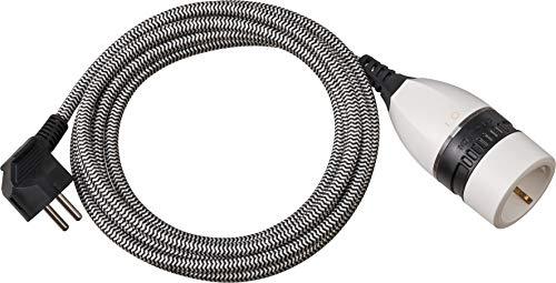 Brennenstuhl Verlängerungskabel 3m für innen (3m Textilkabel, für den Einsatz im Innenbereich, Verlängerungskabel mit beleuchtetem Schalter) schwarz/weiß