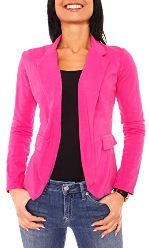Easy Young Fashion Damen Sommer Sweat Jersey Blazer Jacke Sweatblazer Jerseyblazer Sakko Kurz Ungefüttert Langarm Uni Einfarbig Pink XS -...