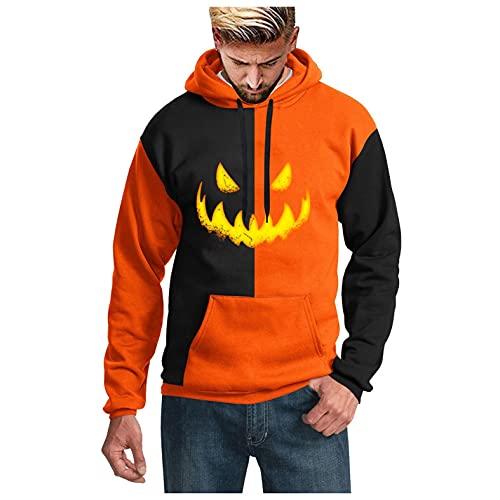 SHOBDW 2021 Barato Sudaderas Manga Larga Hombre Trendy 3D Impresas Pullover Halloween Cosplay Hoodie Jerséis Chaqueta con Capucha Deportiva Blouse Liquidación Venta Talla Grande(Naranja,L)