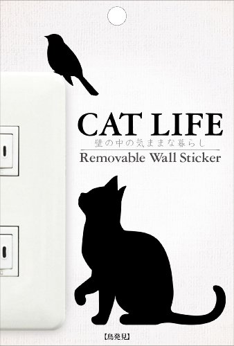 CAT LIFE 猫シリーズ 鳥発見 パッケージサイズW100×H148mm 本体黒色 TC生地 アクリル 紙 WS-CAT-01