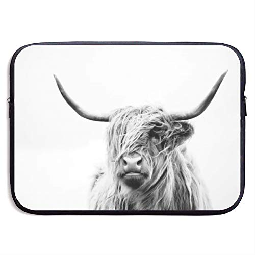 Portrait of A Highland Cow Fashion Waterproof Laptop Sleeve 13 Inch, 15inch, Business Briefcase Protective Bag, Works with Any Brand of Laptop.