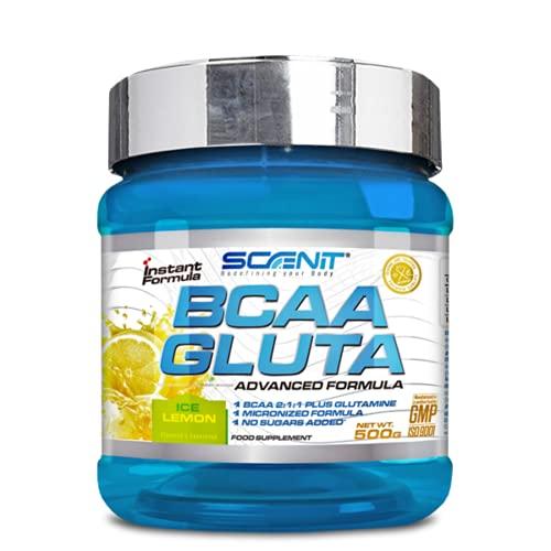 BCAA GLUTA | BCAA + Glutamina | 500 g | Aminoácidos ramificados en polvo con sabor | Leucina, isoleucina y valina 2:1:1 (Limón)