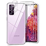 YIRSUR Kompatibel mit Samsung Galaxy S20 FE 4G/5G mit 2 Panzerglas & 2 Kamera Schutzfolie, Transparent Hard PC & TPU Silikon Starke Stoßfestigkeit Hülle Kompatibel mit Samsung Galaxy S20 FE