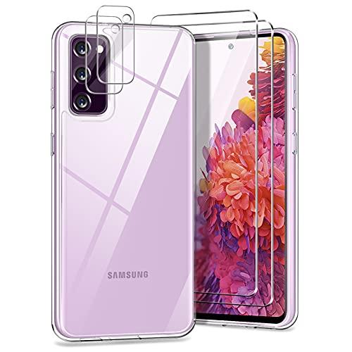 YIRSUR Kompatibel mit Samsung Galaxy S20 FE 4G/5G mit 2 Panzerglas und 2 Kamera Schutzfolie, Transparent Hard PC und TPU Silikon Starke Stoßfestigkeit Hülle Kompatibel mit Samsung Galaxy S20 FE