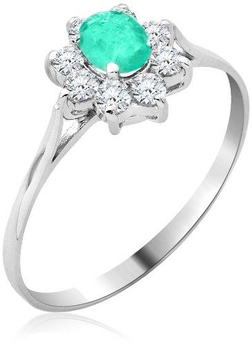 Miore Damen-Ring Smaragd und Zirkonia 9 Karat 375 Weißgold Gr. 54 (17.2) MA9053ZR4