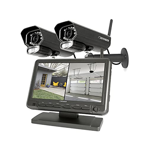 Defender PHOENIXM2 Non WiFi. Plug-in Power Security Cameras- for Home & Business Surveillance Indoor & Outdoor Bullet Cameras with 7 Inch LCD Display Monitor, Free 16 GB SD Card Included (2 Cameras)