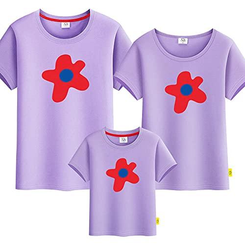 SANDA T-Shirt Mujer,Padre-niño Flores Flores Verano Nueva Camiseta para Padres y niños de Manga Corta-púrpura_Mamá l