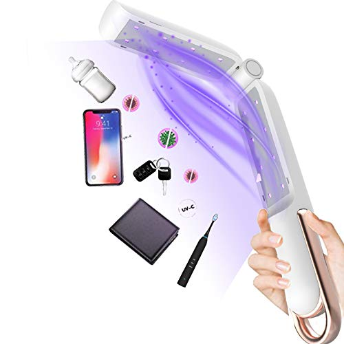 Upgraded 16-LED UV Light Sanitizer Wand,Portable Fold Mini UV-C Light Sterilizer, Rechargable Ultraviolet Disinfection Lamp,Germ-Killing Without Chemicals, for Home Hotel Travel Toilet Car Pet Toy