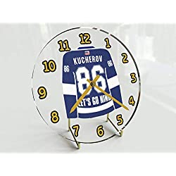 USA Hockey Legends Table Clocks - 7 X 7 X 2 N H L Jersey Themed Limited Edition Legend Desktop Clocks ! (N.Kucherov 86 TBL Edition)