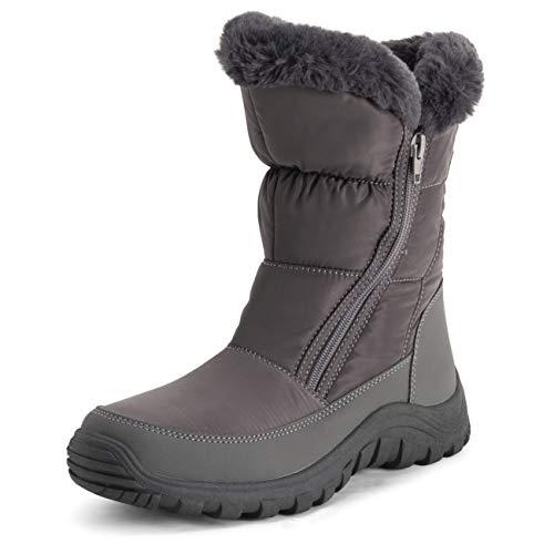 Polar Donna Memory Foam Doppia Apertura con Zip Nylon Impermeabile di Spessore Pelliccia Ecologica Foderato Inverno Pioggia Neve Stivales - Grigio - UK6/EU39 - YC0664