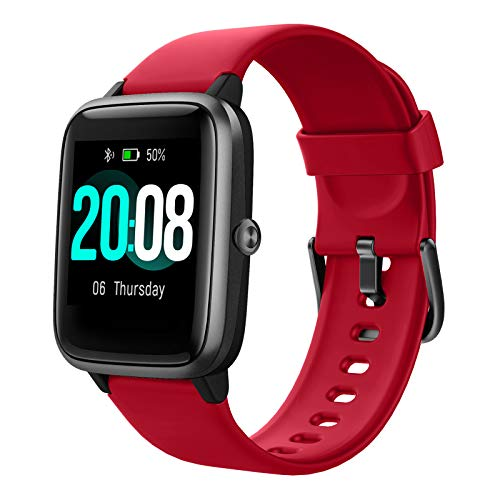 Smartwatch, LIFEBEE Fitness Armband Fitness Tracker Voller Touch Screen Smart Watch IP68 Wasserdicht Fitness Uhr mit Pulsuhren Schrittzähler Damen Herren Armbanduhr Sportuhr für iOS Android (Rot)