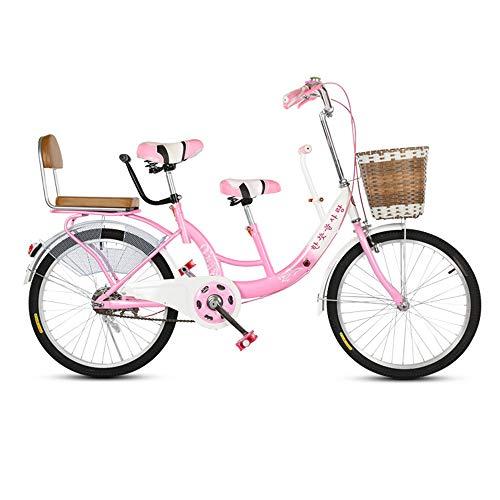 22 Zoll Eltern Kind Fahrrad Mutter Kind Fahrrad Tandem Tandem Fahrrad Geeignet Ist Mit Ihrem Baby Unterwegs,Rosa
