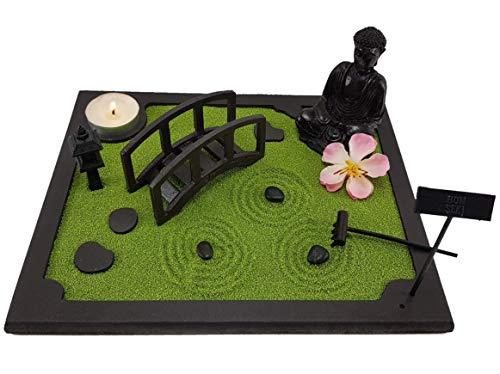 Bonseki®. Giardino Zen da tavolo 20 x 25 cm in Legno. Passo giapponese con ponte e Buddha. Totalmente personalizzabile
