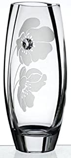 Luxury Handmade Glass Vase - Decorated with Swarovski Crystal and Sandblasted Poppy Flower – Uniquely Shaped Vase - Presented in a Golden Gift Box – Diamond Collection - Clear, 10.2 inch (26 cm)