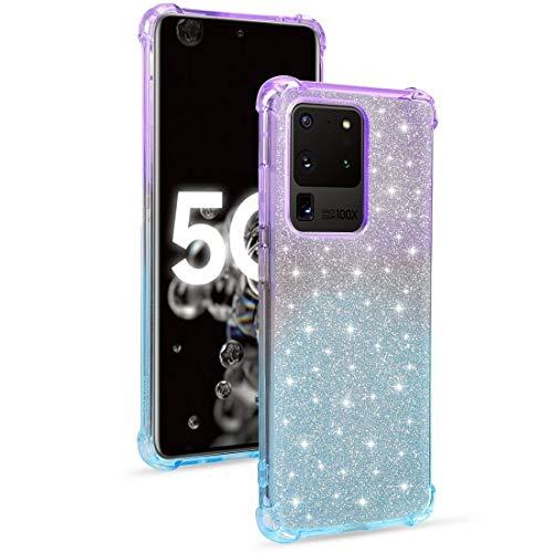 GUODONG Carcasa de telefono For el Caso Protector de TPU for Samsung Galaxy S20 Ultra Gradiente Polvo del Brillo a Prueba de Golpes Funda Trasera para Smartphone (Color : Purple Blue)