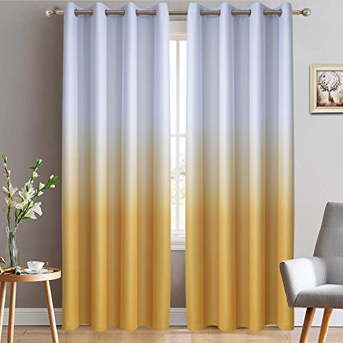 Yakamok Room Darkening Gradient Color Ombre Curtains Thermal Insulated Grommet Window Drapes for Living Room/Bedroom (Mustard Yellow, 2 Panels, 52x84 Inch)