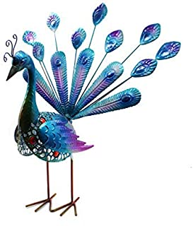 YOUKOOD Garden Outdoor Indoor Decor Statues, Metal Yard Art Peacocks Lawn Ornaments Yard Party Landscape Figurine Decorations (Blue Peacock)