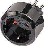 Brennenstuhl Reisestecker / Reiseadapter (Reise-Steckdosenadapter für: Schweiz Steckdose und Euro Stecker) schwarz