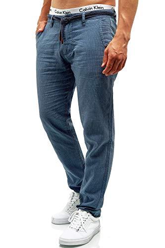 Indicode Herren Arona Stoffhose aus Baumwolle & Leinen mit 4 Taschen   Lange Regular Fit Hose Herrenhose Baumwollhose Leinenhose Kordel-Gürtel Sommerhose Freizeithose für Männer China Blue XXL