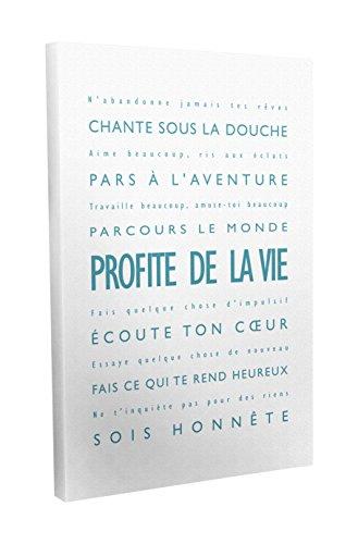 Feel Good Art Profite de la Vie Toile sur Cadre Mural de Style Moderne/Typographique Vert Canard/Blanc 40 X 30 cm