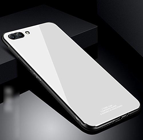 Kompatibel mit Huawei Honor View 10 Hülle,Huawei Honor V10 Hülle,TPU Frame Gehärtetes Glas Back Schutzhülle Hülle Silikon Bumper Hülle Handy Hülle Tasche Schutzhülle für Huawei Honor View 10 Hülle,Weiß