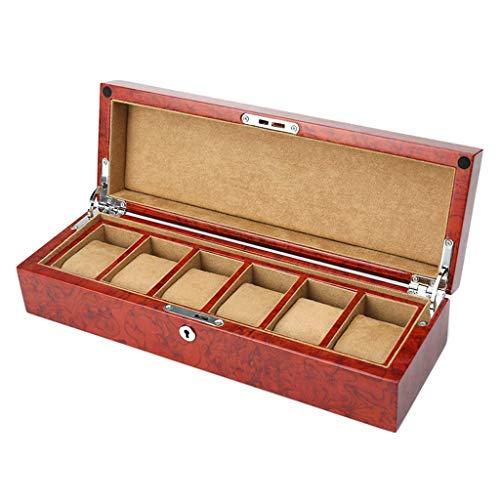 H.yina Watch Box - Elegante Almacenamiento para hasta 6/12 Relojes de Pulsera Colecciones de brazaletes de joyería con Hebilla de Metal con Llave y Almohadas de Almacenamiento para remoción (Rojo)