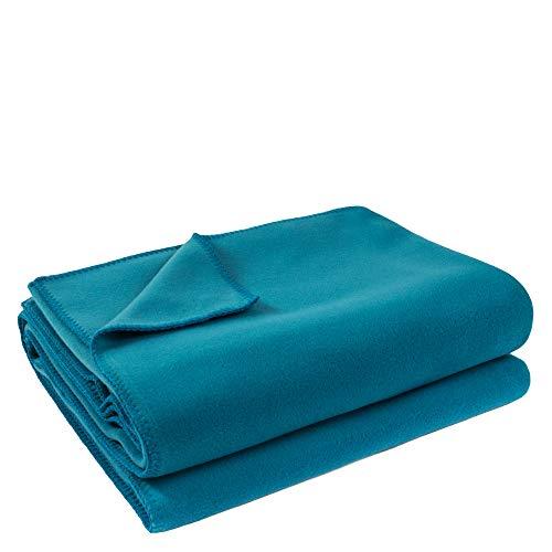 Soft-Fleece-Decke – Polarfleece-Decke mit Häkelstich – flauschige Kuscheldecke –  160x200 cm – 760 curacao – von 'zoeppritz since 1828'