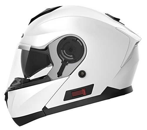 Motorcycle Modular Full Face Helmet DOT Approved - YEMA YM-926 Motorbike Moped Street Bike Casco Moto Racing Flip-up Helmet with Sun Visor Bluetooth Space for Adult,Youth Men and Women- White,M