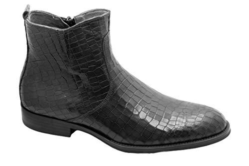 Zapatos hechos a mano para hombre de cuero botas croco redondeado llano dedo del pie vestido formal zapatos de arranque, color Negro, talla 42 1/3 EU
